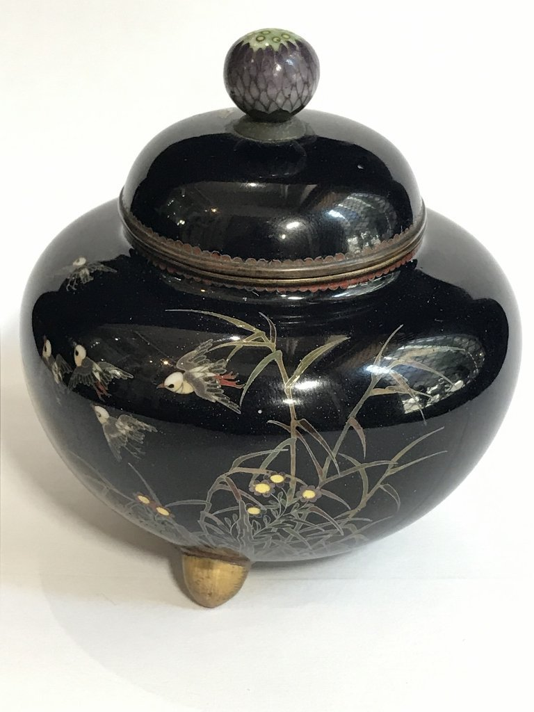 Small Japanese cloisonne covered jar, c.1900