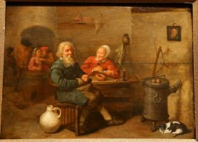 Painting Of Tavern, Probably 17th Century Antwerp.