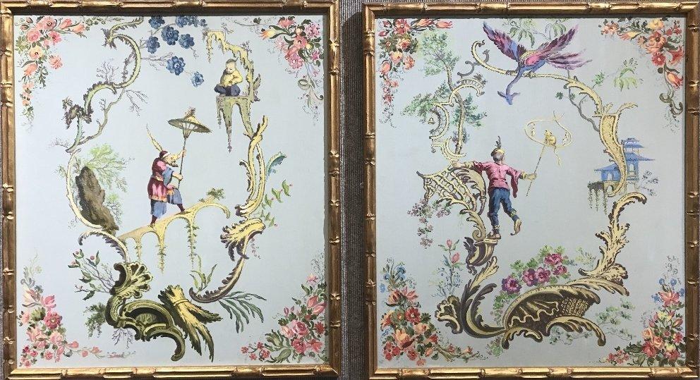 Pair of Chinoiserie paintings, c.1950