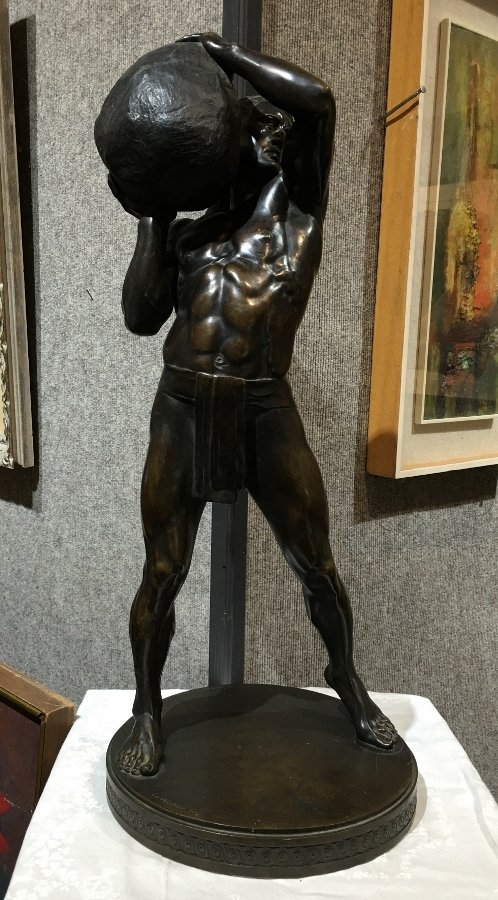 """Sisyphos"", bronze by Paul Leibkuchler, 26""high"