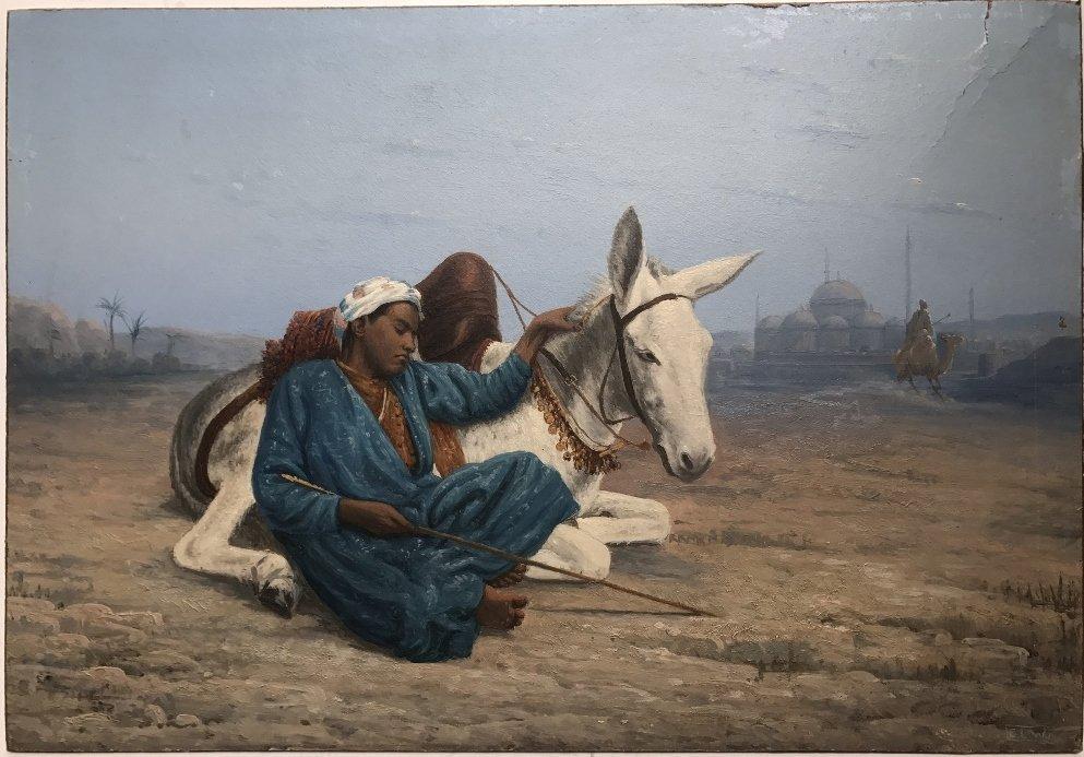 Orientalist ptg on board of boy with donkey, c.1880