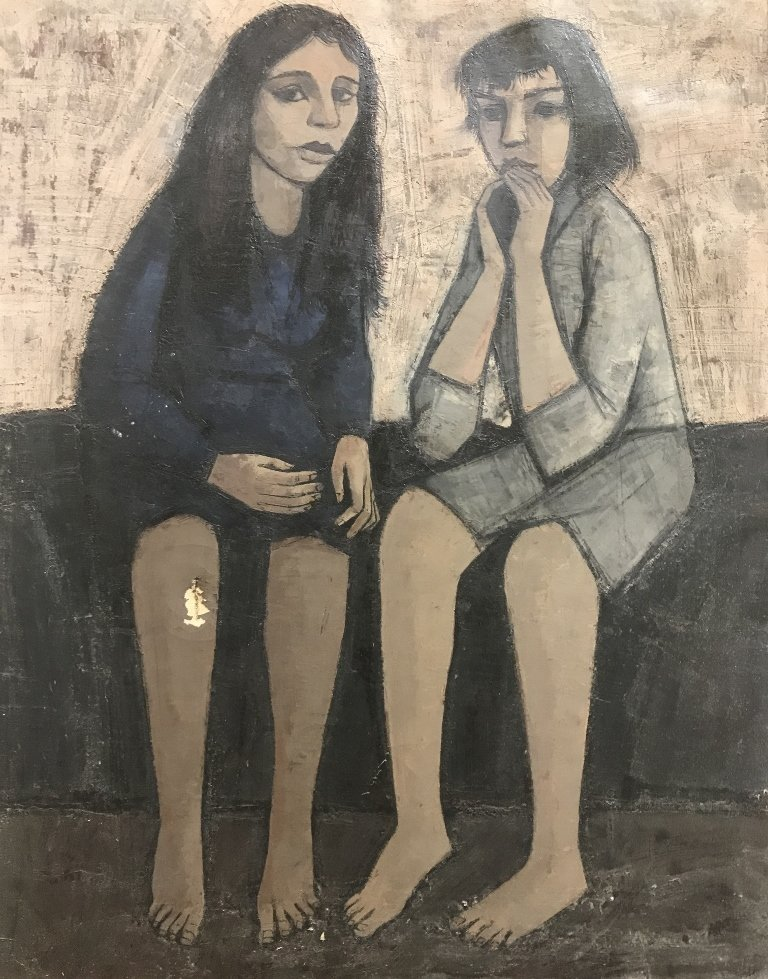Painting of two girls by HJ Mengels-damage