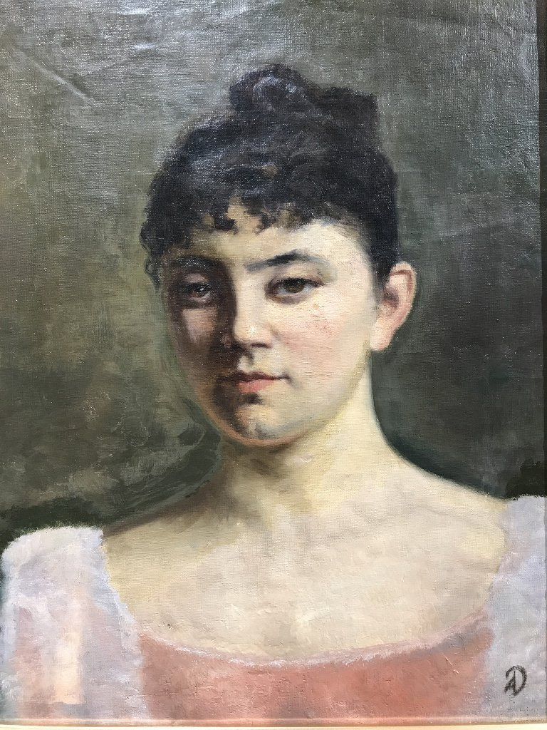 "Painting of a woman signed ""AD"".Circa 1910."