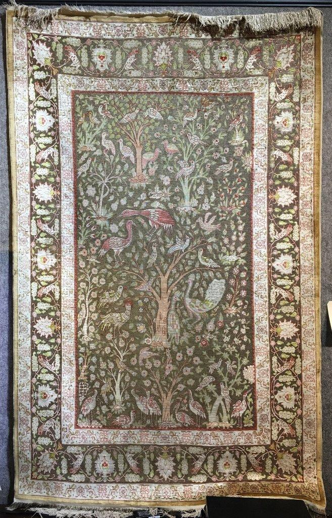 """Handmade silk rug, 47"""" x 76"""".Circa 1965."""