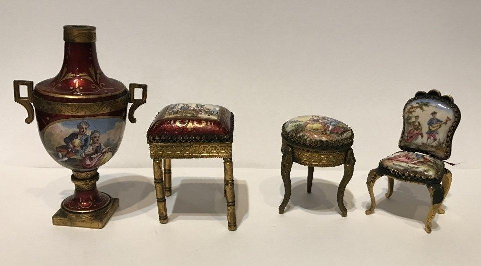 Group of 4 enamel miniature items, c.1900