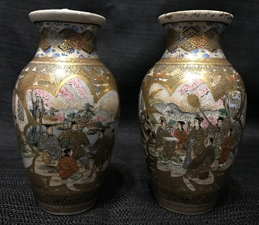 Pair of Satsuma small vases, c.1900