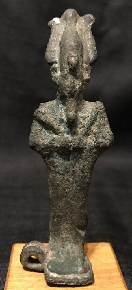 Egyptian bronze Shabti on wood stand