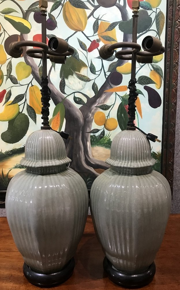 Pair of celadon Chinese lamps, c.1945