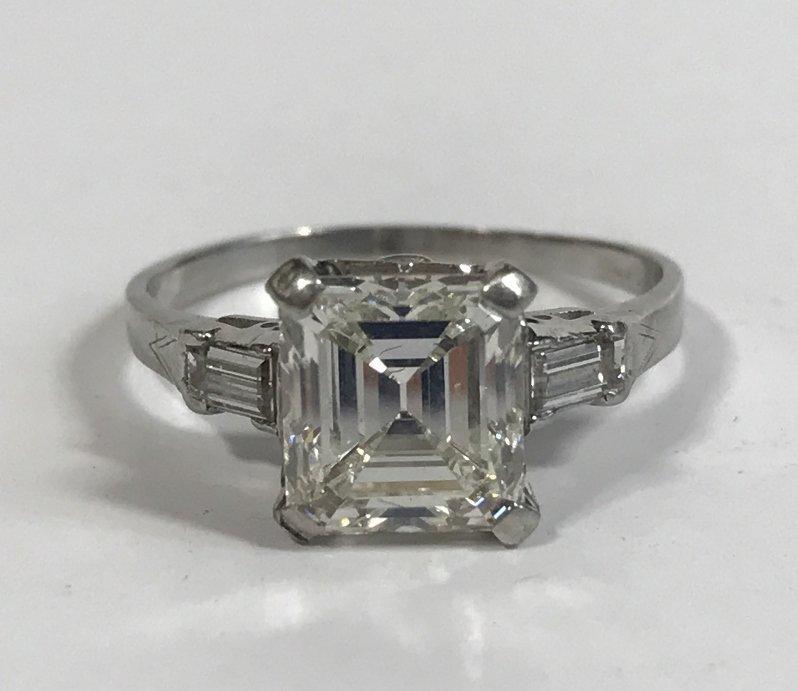 2.34 carat square diamond ring, VVS2-GIA