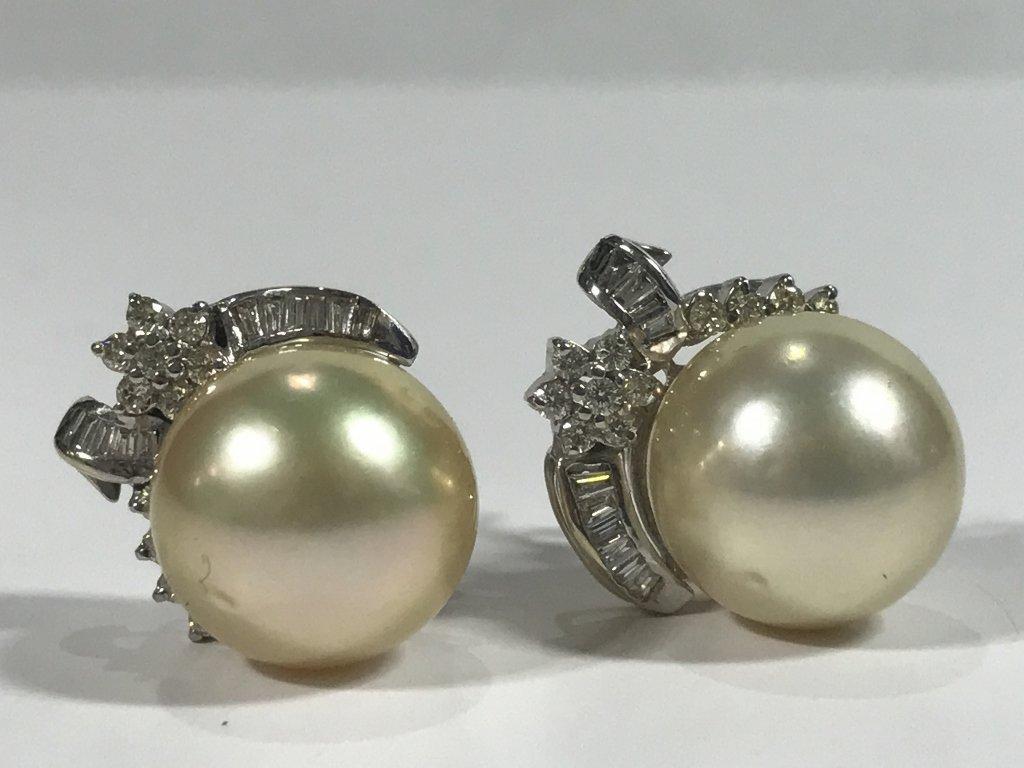 Diamond earrings, 13mm pearls, 7.5 dwts