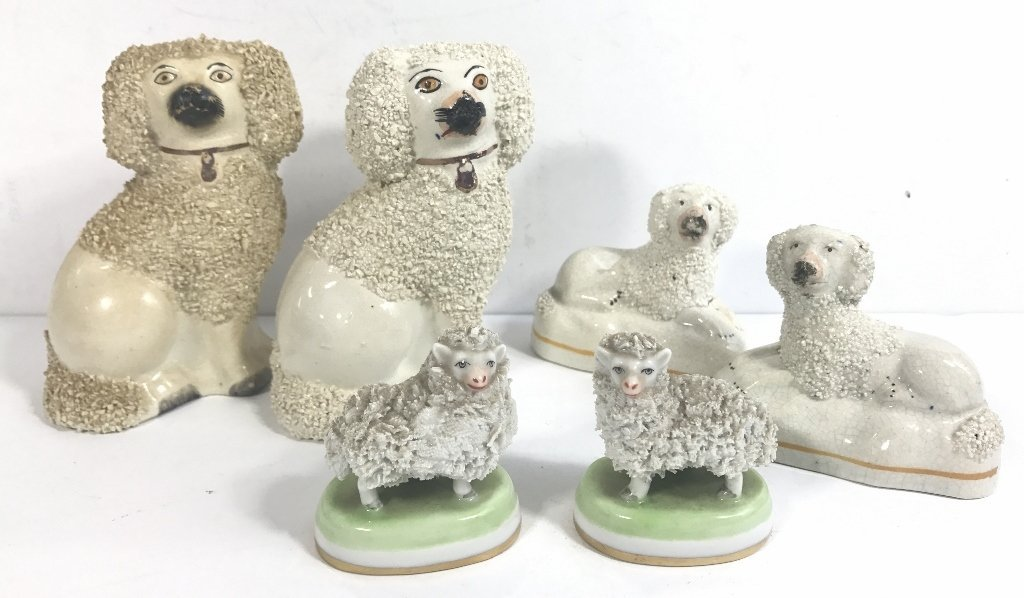 Three pairs of Staffordshire poodles