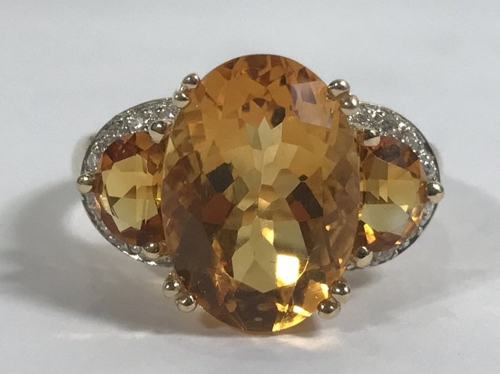 14k citrine and diamond ring, 3.4 dwts