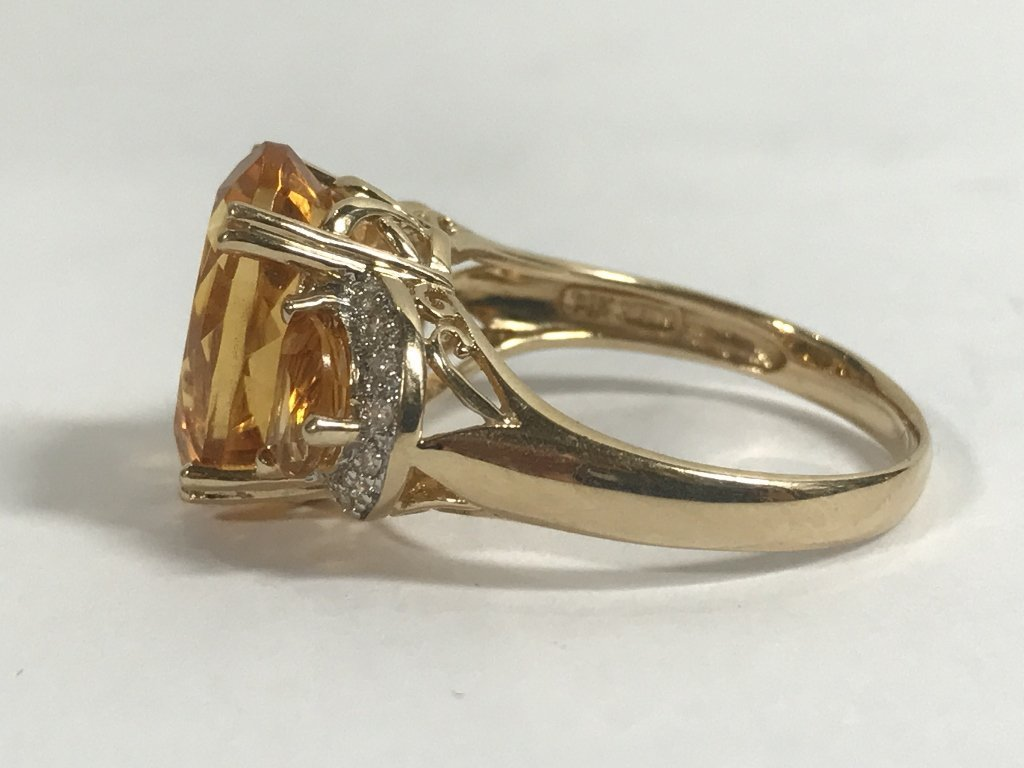 14k citrine and diamond ring, 3.4 dwts - 2