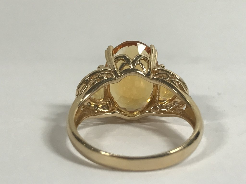 14k citrine and diamond ring, 3.4 dwts - 3