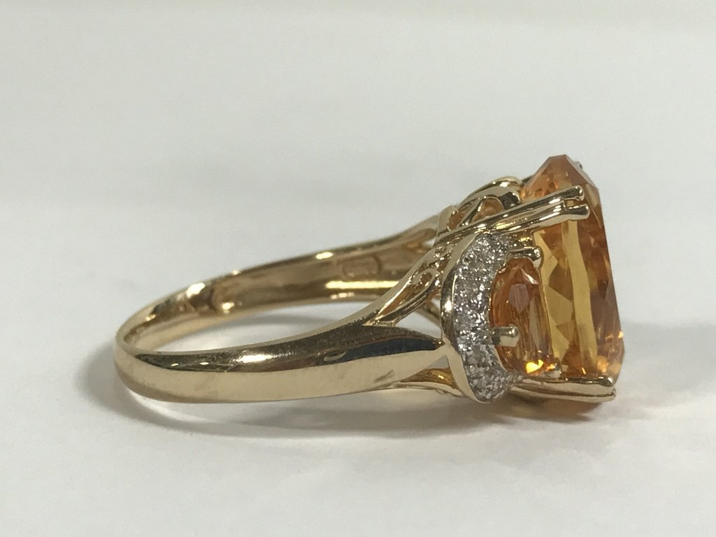 14k citrine and diamond ring, 3.4 dwts - 4