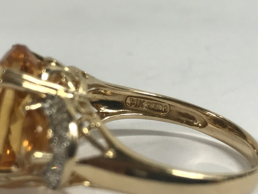 14k citrine and diamond ring, 3.4 dwts - 5