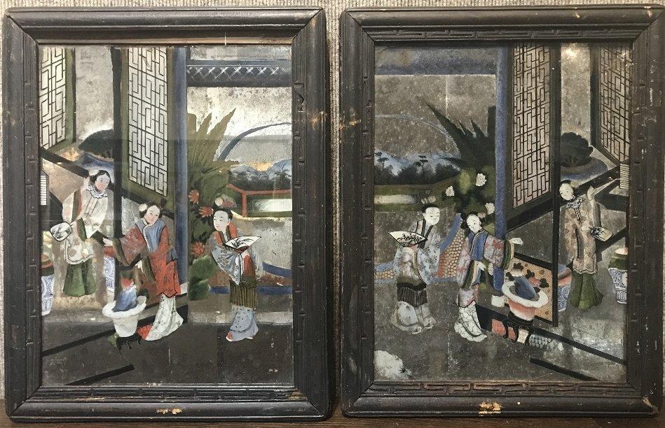 One pair of 19th century Chinese reverse ptg glass