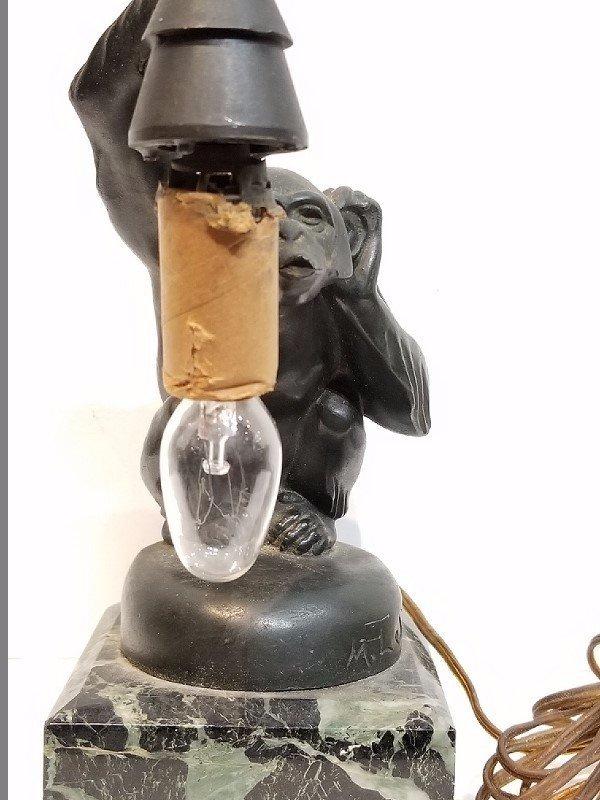 """Boubou"" bronze monkey lamp by Max LeVerrier"