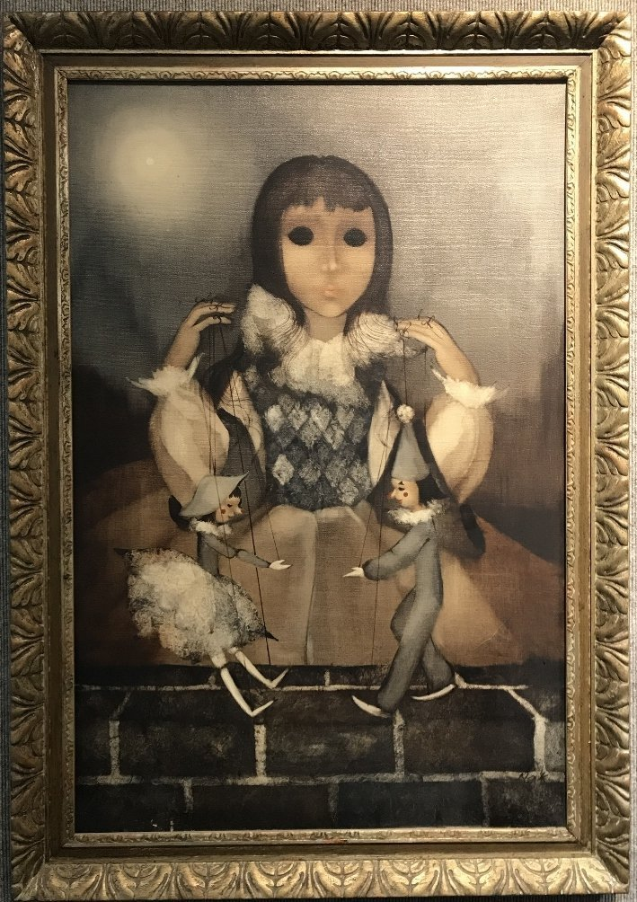Macabre ptg of girl with puppets, signed Kirk(20th cen)