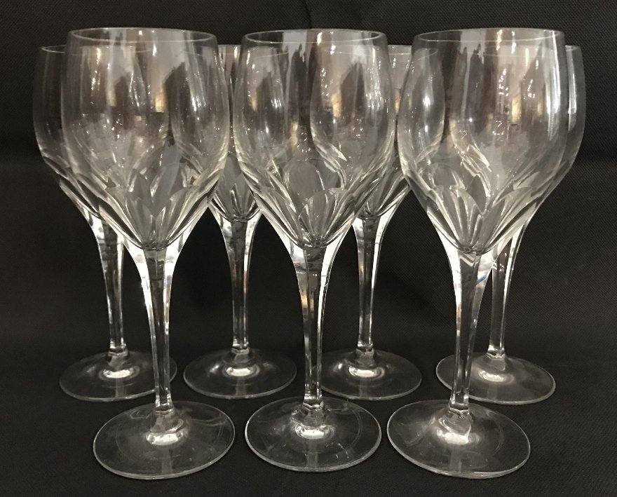 Seven Tiffany crystal wine glasses