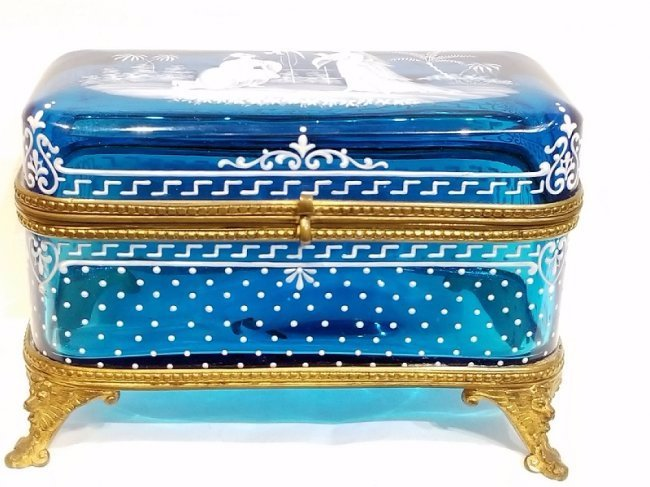 Glass dresser box with exotic detail, c.1880