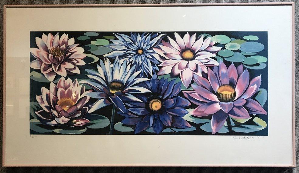 Large signed print of flowers by Lowell Nesbitt