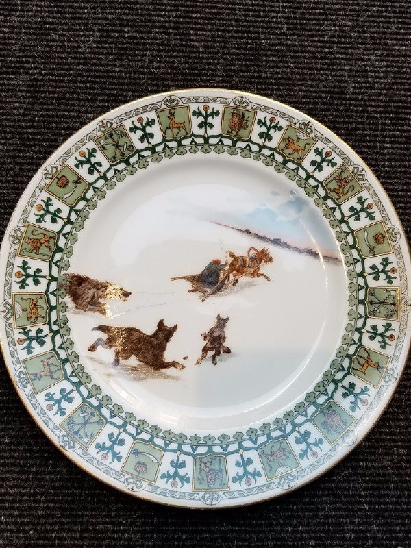 Russian Troika plate by Kornilov Brothers, c.1900