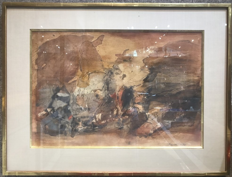 Abstract watercolor signature illegible,1963