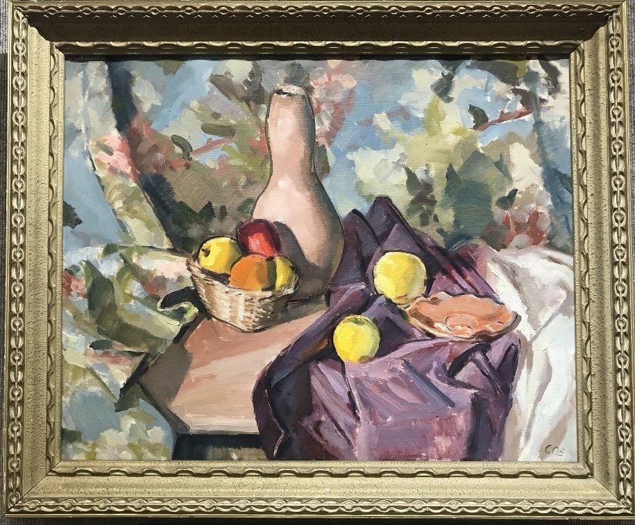 "Still life painting signed ""COE"", circa 1950"