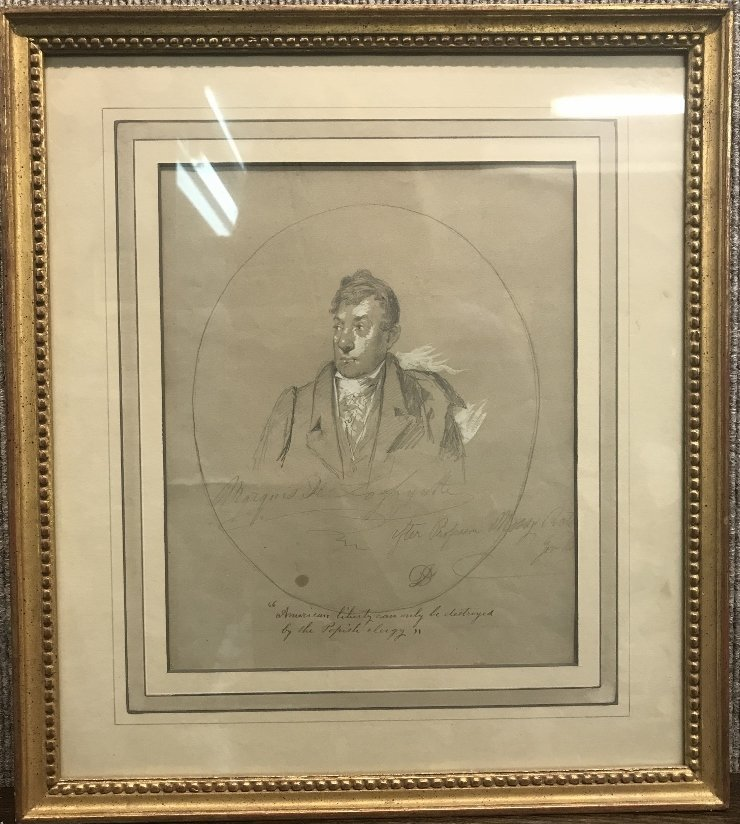 Drawing of Marquis Lafayette by David Johnson w/labels