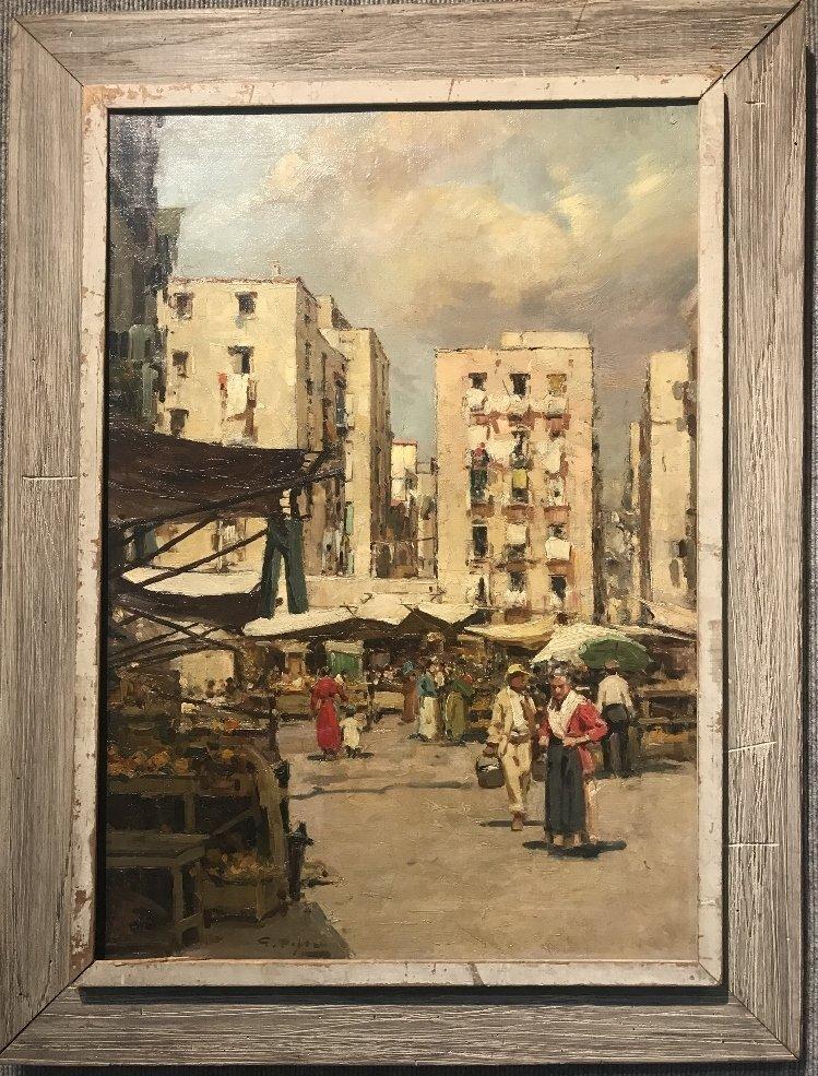 Painting of Italian village by Gustavo Pisani, 19th cen