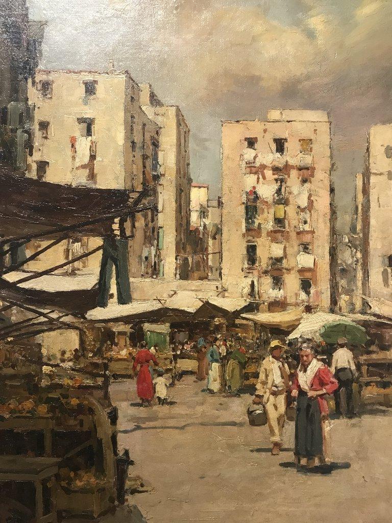 Painting of Italian village by Gustavo Pisani, 19th cen - 2