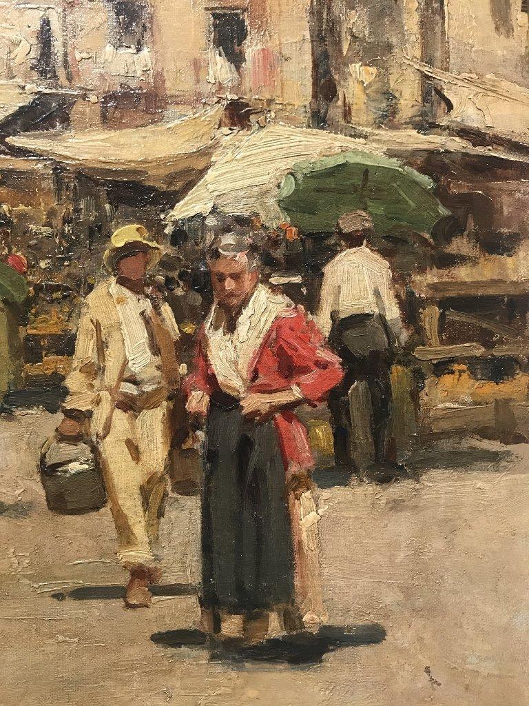 Painting of Italian village by Gustavo Pisani, 19th cen - 4