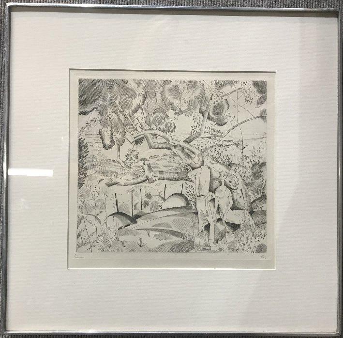 Figures,Art Deco landscape, etch by J.E Laboureur