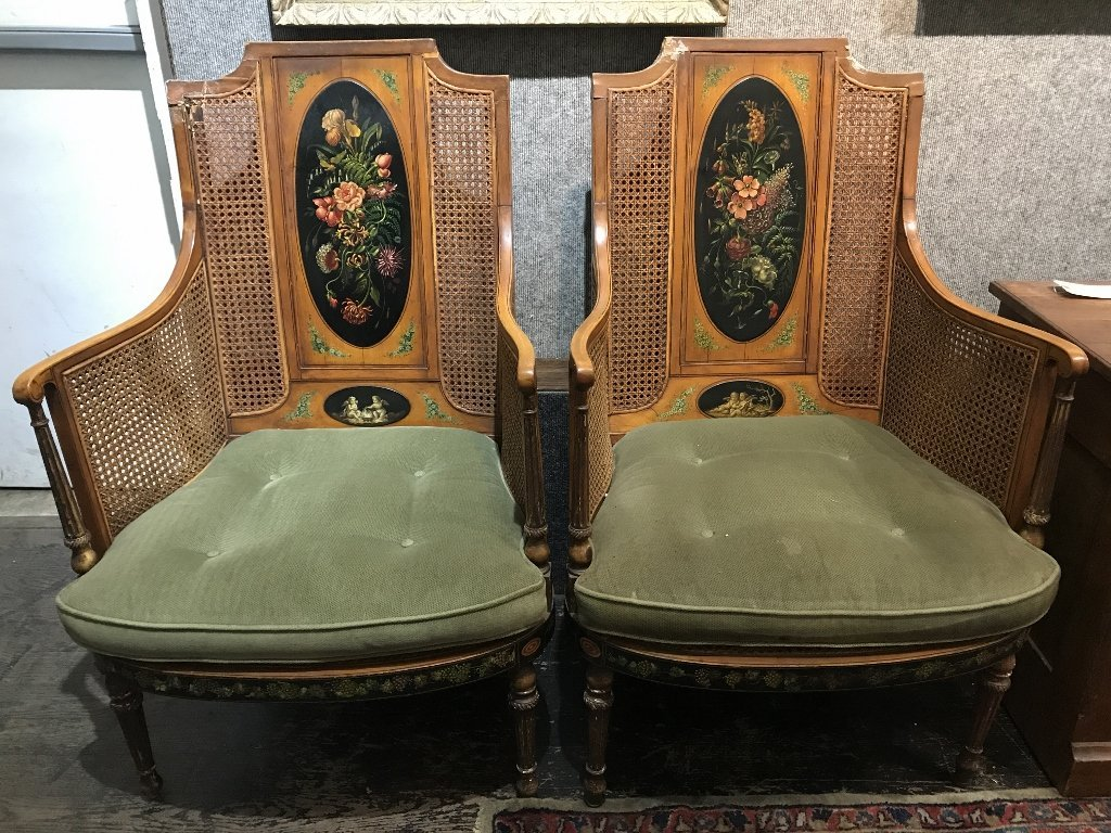 Pair of Adams style chairs with caning, as-is