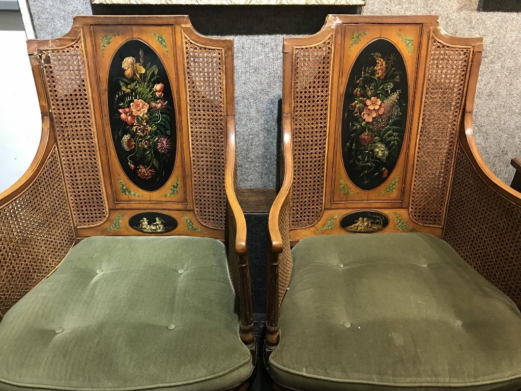 Pair of Adams style chairs with caning, as-is - 2