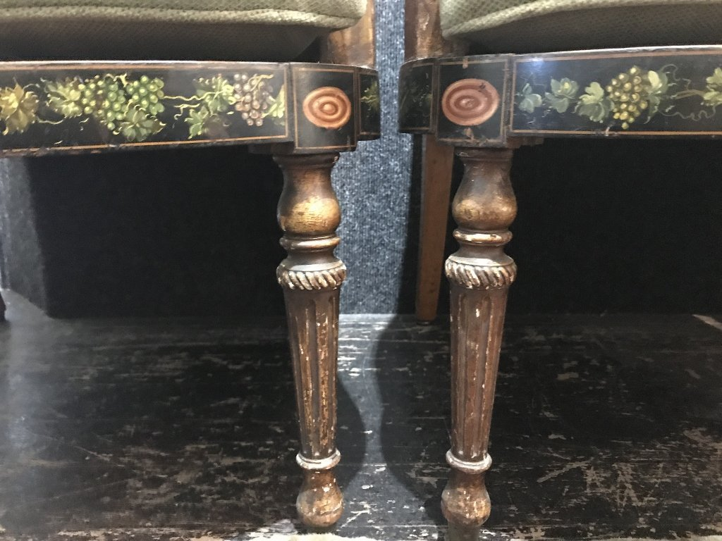 Pair of Adams style chairs with caning, as-is - 5