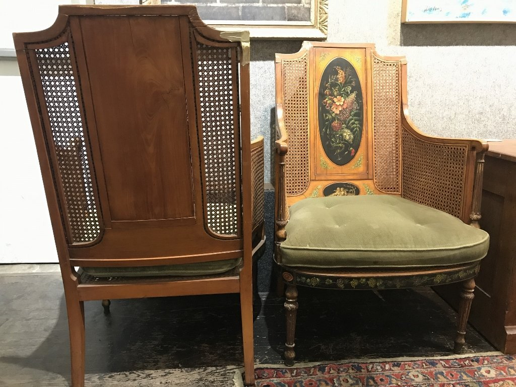 Pair of Adams style chairs with caning, as-is - 7
