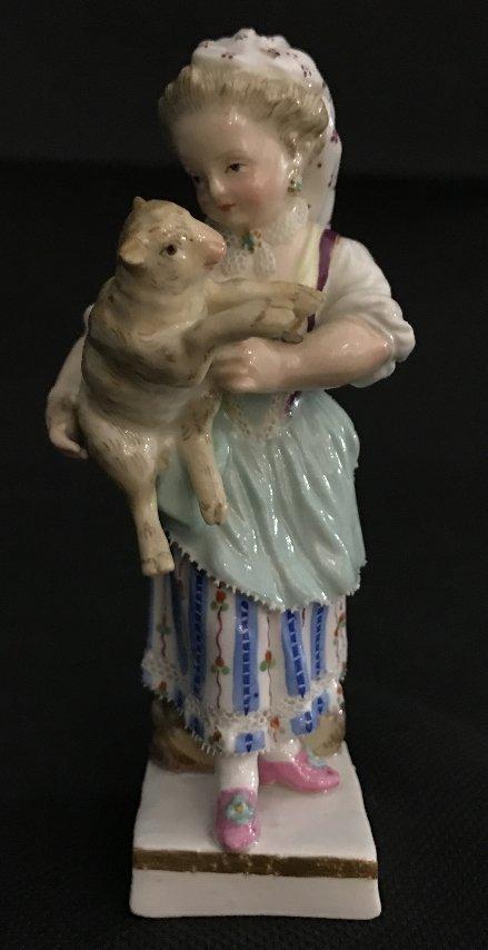 Meissen girl holding lamb, c.1900