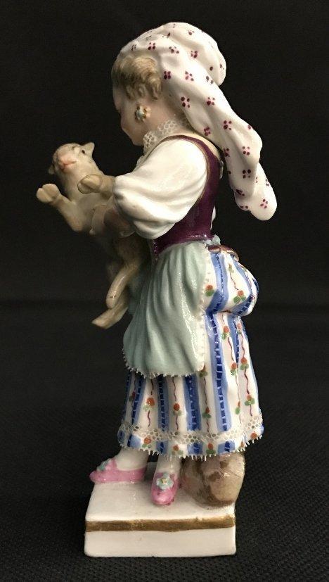 Meissen girl holding lamb, c.1900 - 3