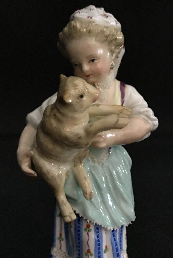 Meissen girl holding lamb, c.1900 - 6