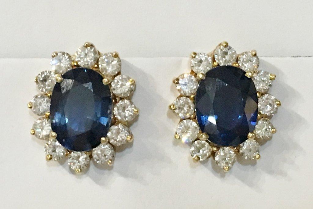 Natural sapphire and dia earrings, circa 1965/1970-GIA