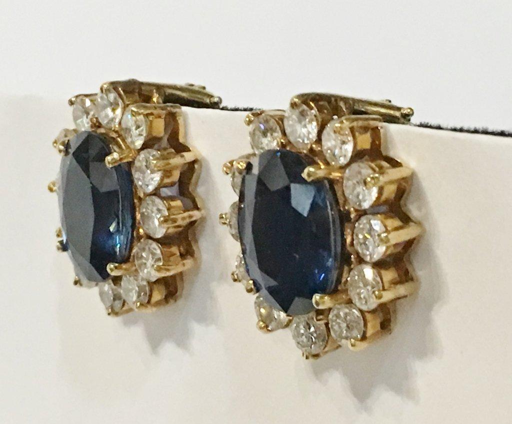 Natural sapphire and dia earrings, circa 1965/1970-GIA - 2