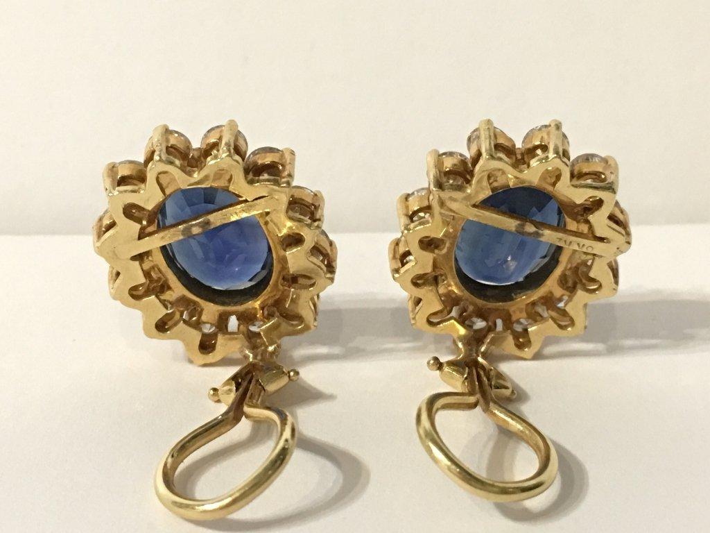 Natural sapphire and dia earrings, circa 1965/1970-GIA - 3