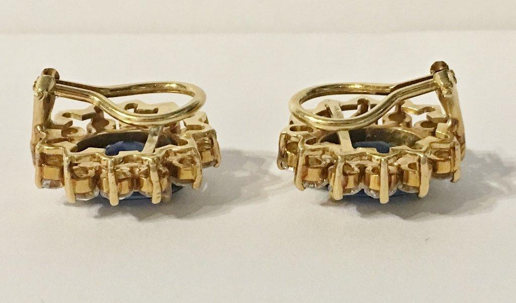 Natural sapphire and dia earrings, circa 1965/1970-GIA - 5