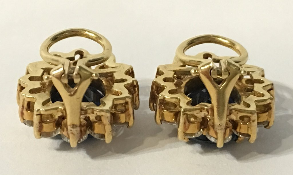 Natural sapphire and dia earrings, circa 1965/1970-GIA - 6