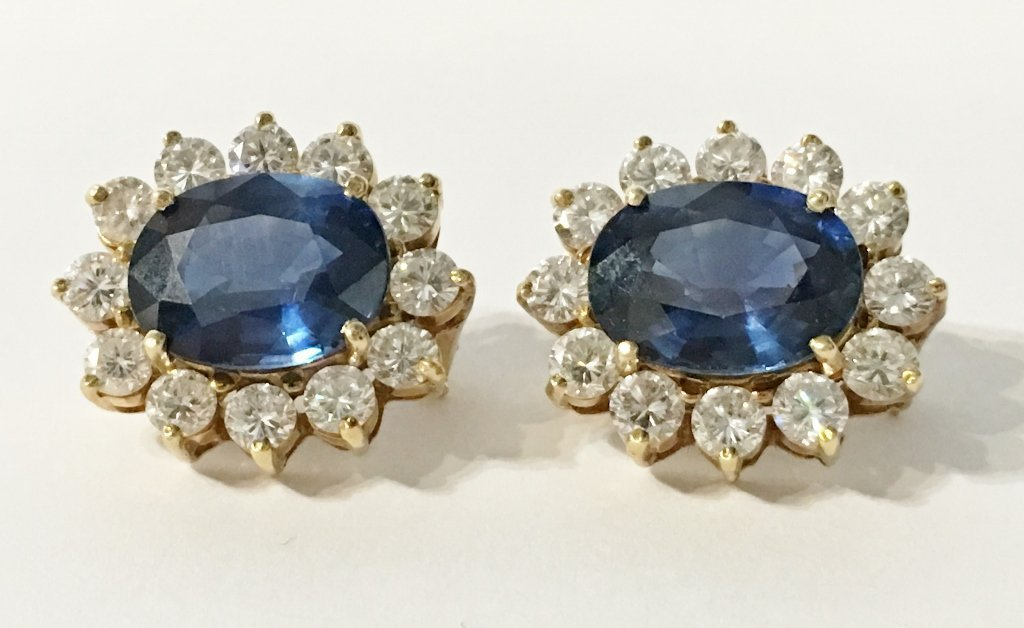 Natural sapphire and dia earrings, circa 1965/1970-GIA - 7