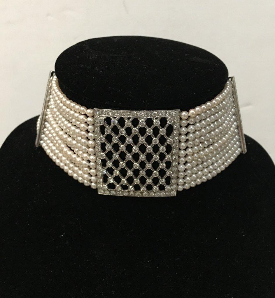 Platinum, diamond and cultured pearl choker, circa 1975