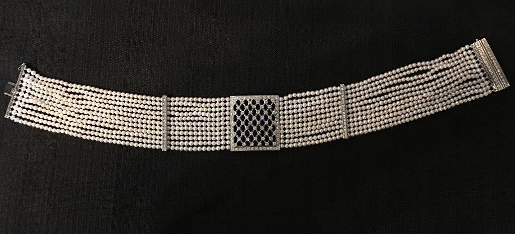 Platinum, diamond and cultured pearl choker, circa 1975 - 2