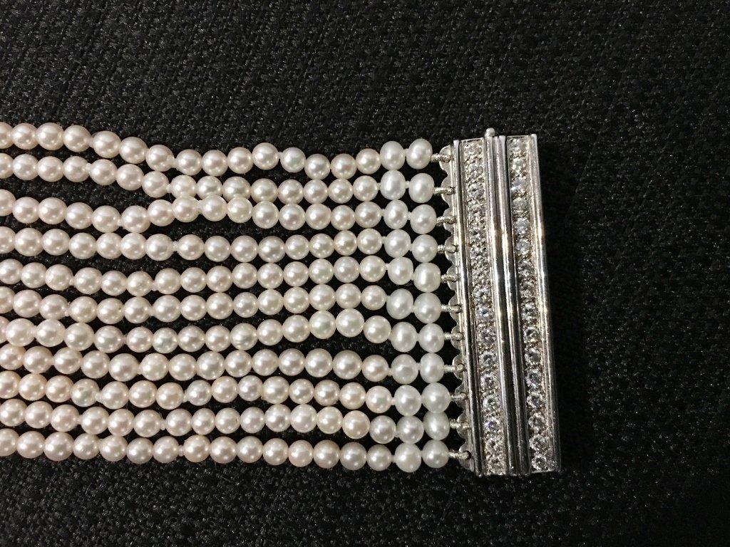 Platinum, diamond and cultured pearl choker, circa 1975 - 4